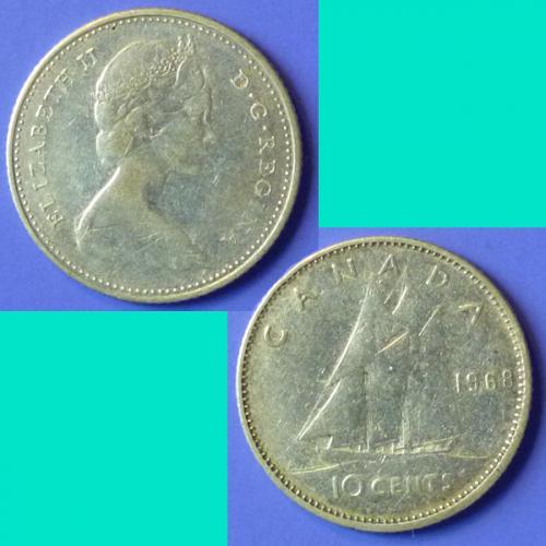 Canada 10 Cents 1968 km 72 Silver