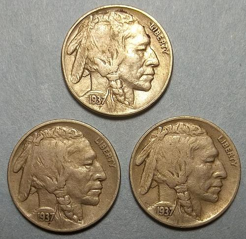 3 Buffalo Nickels LOT BNf3w