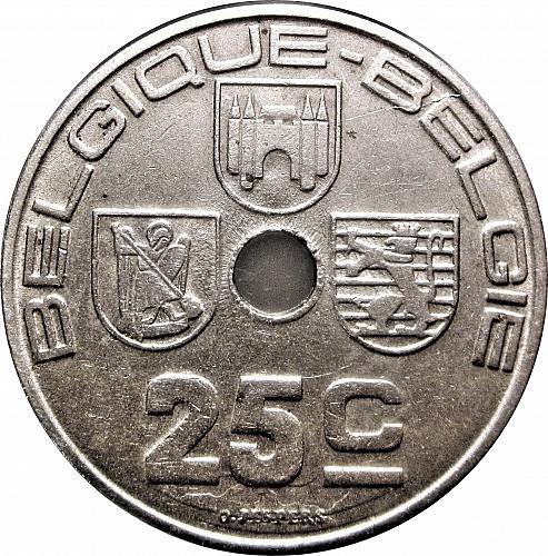 """Belgium 1939 25 Centimes - Léopold III BELGIQUE-BELGIE """" DIE CLASH""""   #0014"""