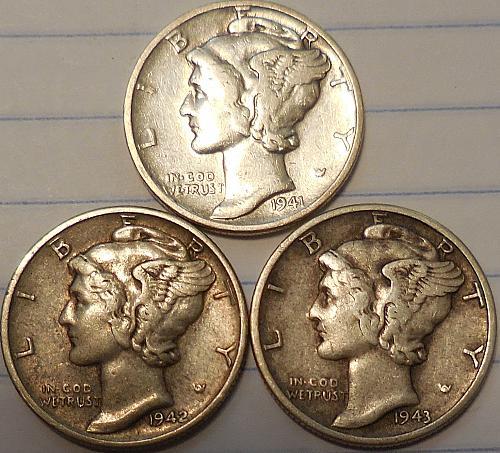 Three Mercury Dimes 1941 1942 & 1943