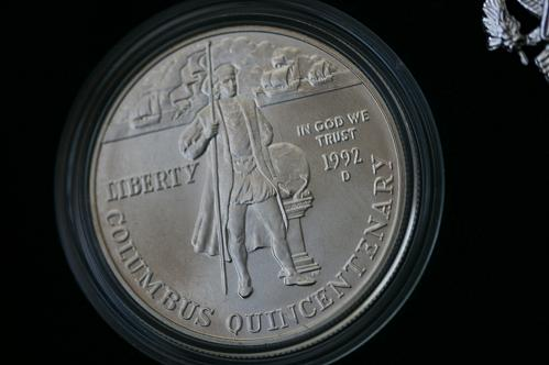 1992 D Columbus Quincentenary 2 coin Silver Dollar Set Mint Box