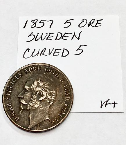 1857 5 Ore - Sweden - Curved 5