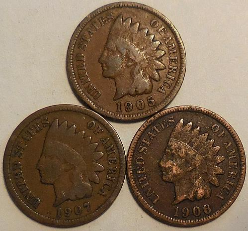 Three Indian Head Cents 1905 1906 & 1907