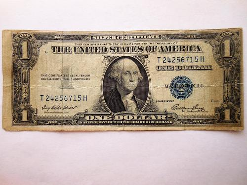 $1 1935-E Miscut Off Center both Top & Right Side Silver Certificate Error Bill
