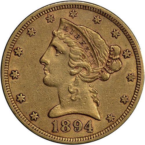 $5.00 1894-S Gold $5 Five Dollar Half Eagle XF / AU - ToughCOINS