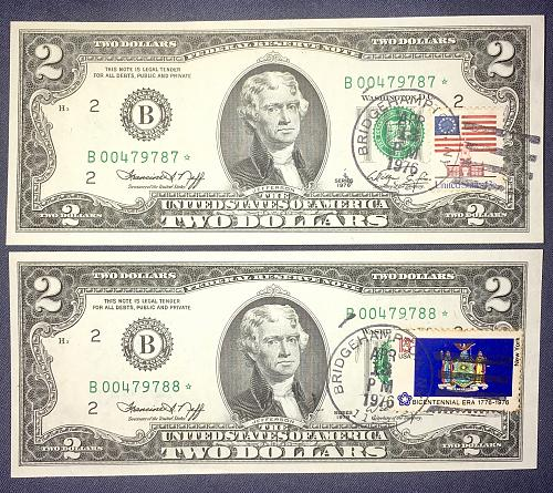 EXTREMELY RARE (2) CONSECUTIVE GEM/BU 1976 $2.00 *STAR* FRN 1ST DAY ISSUES CHOIC