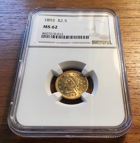 1893 P $2 1/2 GOLD LIBERTY QUARTER EAGLE