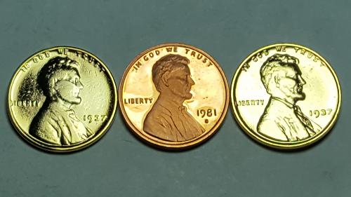 1981 S Proof Lincoln Cent Type2 Clear S Deep Cameo + (2) 24K Gold PL Lincoln Whe