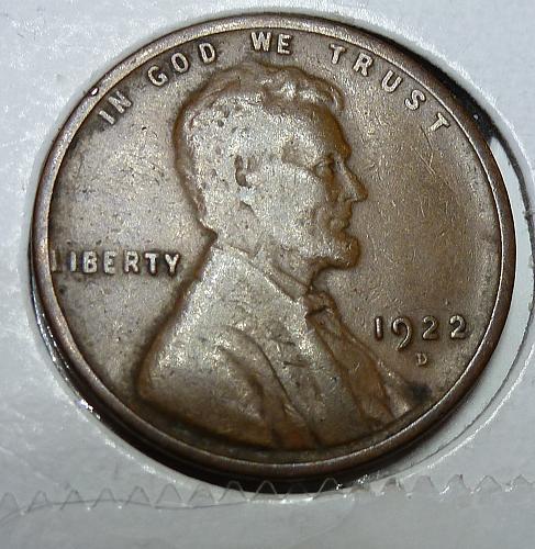 Here is a 1922-D Fine Lincoln Wheat Cent  Grade Fine( 4121 )