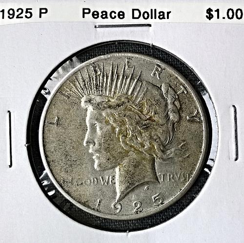 1925 P Peace Dollar - Some resin stains on obverse - 6 Photos!