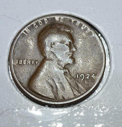 Here is a 1924-D Fine Lincoln Wheat Cent  Grade Fine( 4154 )