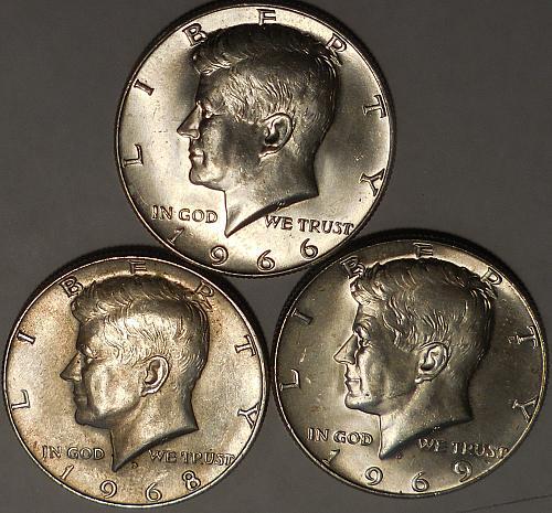 Kennedy Half Dollars Three 1966-P 1968-D & 1969-D