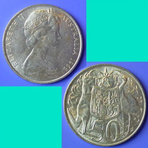 Australia 50 Cents 1966 QEII km 67 Silver