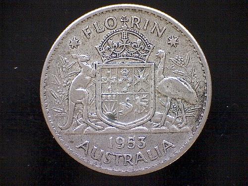 "1953 M AUSTRALIA ONE FLORIN  ""SILVER"""