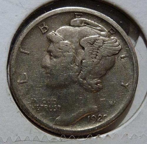 1920 S Extra Fine Mercury Dime XF Graded ( 4611 )