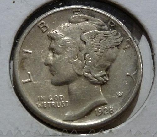 1928 D AU Mercury Dime About Uncirculated with reverse surface issues Graded ( 4