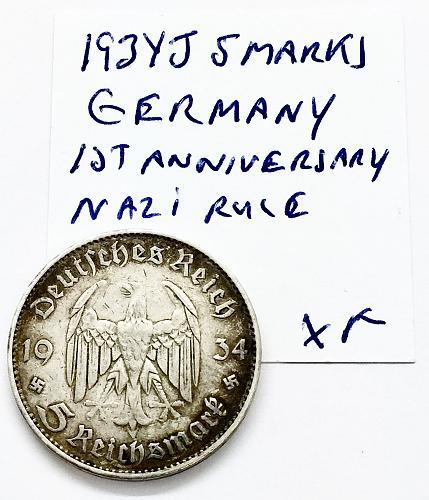 1934 J  5 Mark - Germany - First Anniversary of Nazi Rule