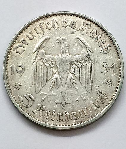 1934 E  5 Mark - Germany - First Anniversary of Nazi Rule
