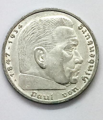 1935 A  5 Mark - Germany - Hindenburg