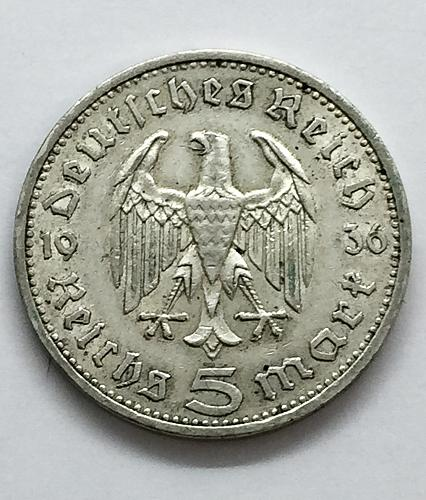 1936 A  5 Mark - Germany - Hindenburg