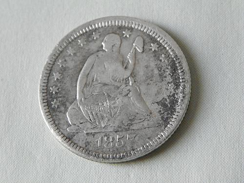 1857 Seated Liberty Quarter Dollar (Variety 1)