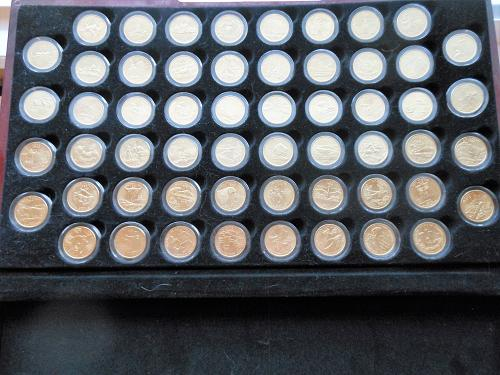 1999-2009 24 Karat Gold Layered P&D State Quarters 112 Coins in Wooden Chest