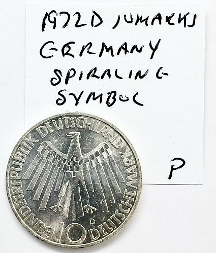 1972 D  10 Mark Germany - Spiraling Symbol - Munich Olympics