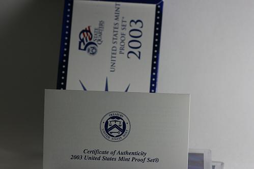 2003 S set 10 coin clad Proof set W/ BOX/ COA