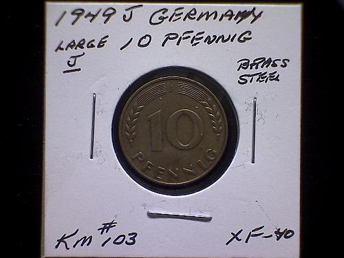"1949 J GERMANY TEN PFENNIG ""LARGE J"""