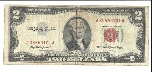 1953   $2.00  RED SEAL  UNITED STATES NOTE
