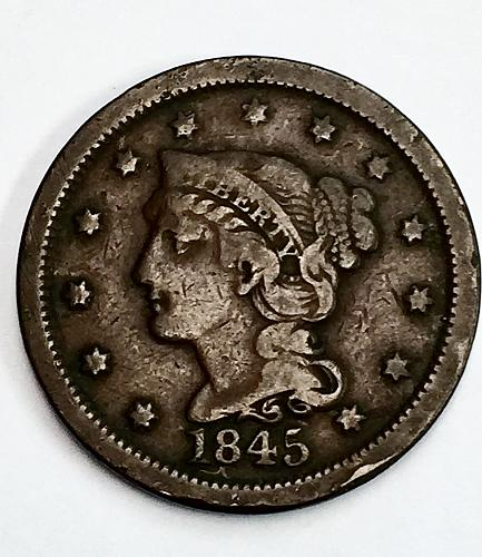 1845 Braided Hair Liberty Head Large Cent