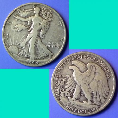 US USA United States of America Walking Liberty Half Dollar 1944 D km 142 silver