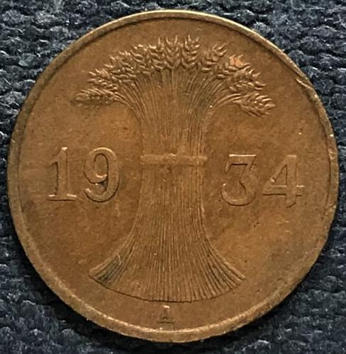 Germany (Weimar Republic) 1934 A = 1 Reichspfennig