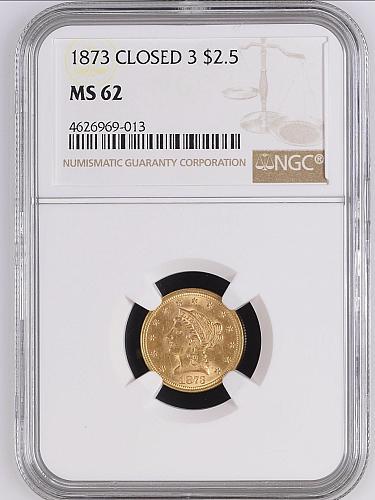 1873 CLOSED 3 $2 1/2 GOLD LIBERTY QUARTER EAGLE