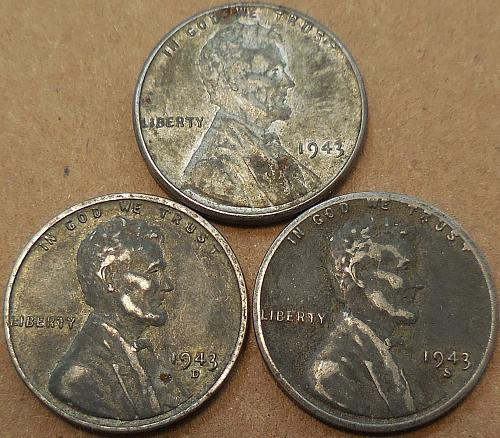 Three Steel Cents 1943 All Mints