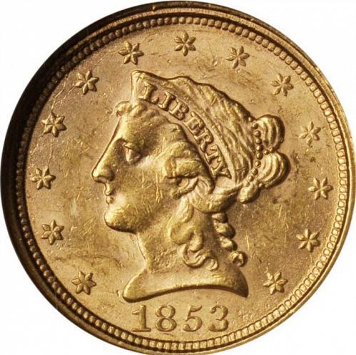 1853 P $2 1/2 GOLD LIBERTY HEAD QUARTER EAGLE