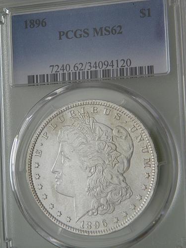 1896 US 90% Silver Morgan Dollar, PCGS MS62