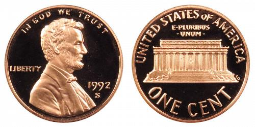 1992-S LINCOLN MEMORIAL CENT FROM PROOF SET (NOT ROLL) G-2-18