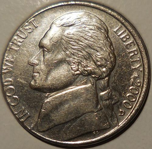 2000-D Jefferson Nickel Misaligned Die Error