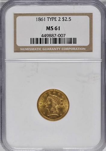 1861 TYPE  2 $2 1/2 GOLD LIBERTY QUARTER EAGLE