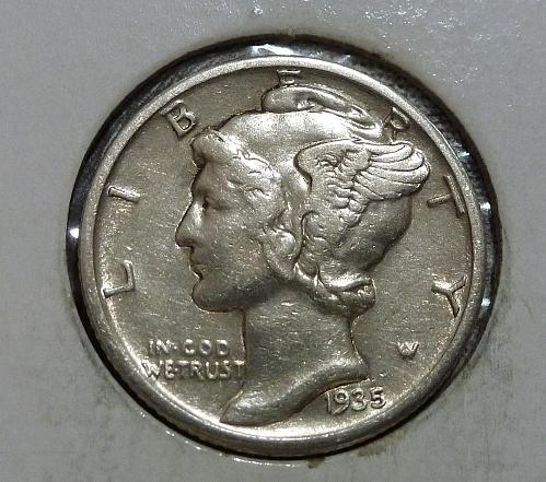 1935-S Extra Fine  Mercury Dime  XF ( 18774-A )