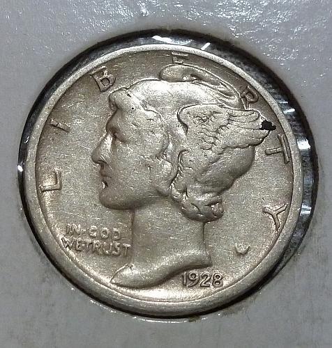 1928-D Very Fine  Mercury Dime  VF ( 18768)