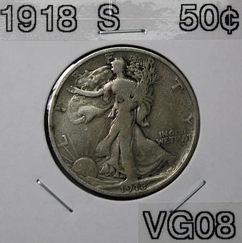 1918 S Walking Liberty Half Dollar