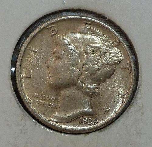1939-P About UNC  Mercury Dime AU  ( 19117)