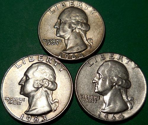 Washington Quarters 1963-P 1963-D & 1964-P