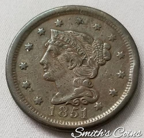 1851 Braided Hair Liberty Head Large Cent ~ Net VF