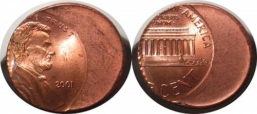 2001 Lincoln Memorial Cents – 40% Off Center and Reeded edge     0251