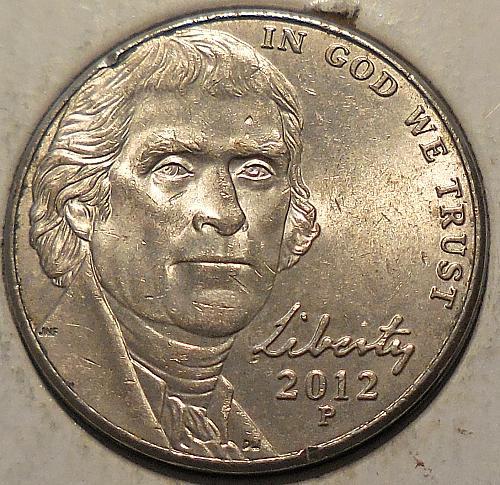 2012-P Jefferson Nickel with Unusual Designer Initials IFS