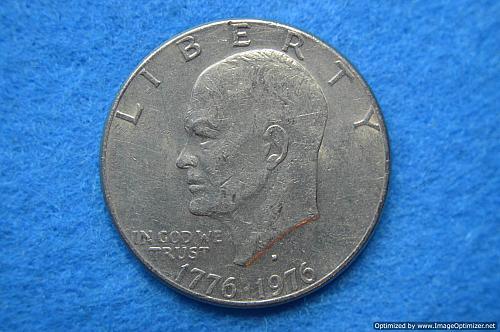 1976 D Eisenhower Dollars: Type 2 - Sharp Design - Delicate Lettering