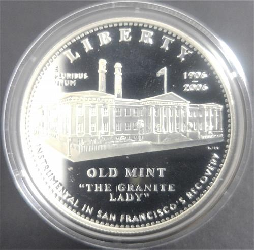 OLD MINT, 'THE GRANITE LADY', 1906 - 2006, SILVER PROOF DOLLAR, ENCAPSULATED